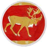 Reindeer Round Beach Towel by George Adamson