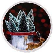 Reindeer With Christmas Trees Round Beach Towel