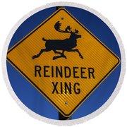 Reindeer Xing Round Beach Towel