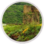 Reinfels Castle Ruins And Wildflowers In The Rhine River Valley 1 Round Beach Towel