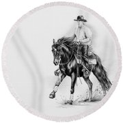 Reining Round Beach Towel