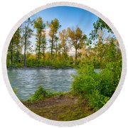Relax By The Methow Rivers Edge Round Beach Towel