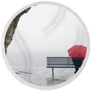Relax In The Rain Round Beach Towel