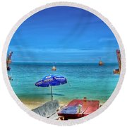 Relax On The Beach Round Beach Towel
