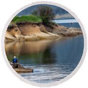 Relaxed Fisherman Round Beach Towel by Robert Bales