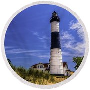 Relaxing By Big Sable Light Round Beach Towel