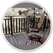 Relaxing In The Woods Round Beach Towel