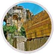 Relief In The Coutyard In Myra-turkey Round Beach Towel