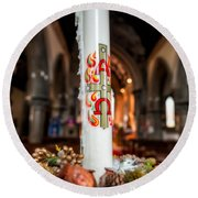 Religious Candle Round Beach Towel