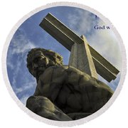 Religious Sculpture And Words Round Beach Towel