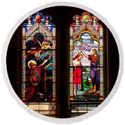Religious Stained Windows Round Beach Towel