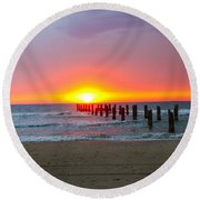Remains Of A Wharf At Sunset Round Beach Towel