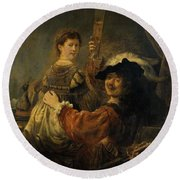 Rembrandt And Saskia In The Parable Of The Prodigal Son Round Beach Towel