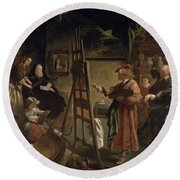 Rembrandt In His Studio Round Beach Towel