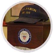 Remembering De-166 Uss Baron Round Beach Towel