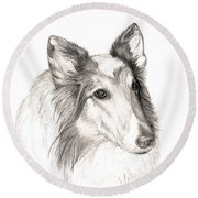 Remembering Maggie - A Tribute To A Collie Round Beach Towel