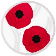 Remembrance Day Poppies Round Beach Towel