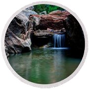 Remote Falls Round Beach Towel