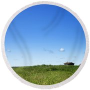 Remote Prairie Landscape With Abandoned Buildings Round Beach Towel