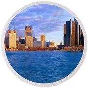 Renaissance Center, Detroit, Sunrise Round Beach Towel