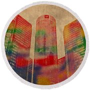 Renaissance Center Iconic Buildings Of Detroit Watercolor On Worn Canvas Series Number 2 Round Beach Towel