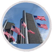 Rencen And Flags Round Beach Towel