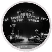 Reno Nevada The Biggest Little City In The World. The Arch Spans Virginia Street Circa 1936 Round Beach Towel