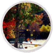 Reno Riverwalk In The Fall Round Beach Towel