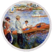 Renoir's Oarsmen At Chatou Round Beach Towel