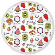 Repeat Print - Fruits Round Beach Towel