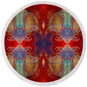 Repeating Realities Abstract Pattern Artwork By Omaste Witkowski Round Beach Towel