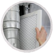 Replace Home Air Filter Round Beach Towel