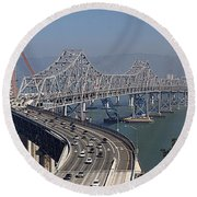 Replacement Of The Easter Span San Francisco Oakland Bay Bridge From Yerba Buena Island Oct 9th 2011 Round Beach Towel