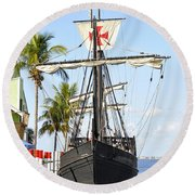 Replica Of The Christopher Columbus Ship Pinta Round Beach Towel