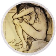 Replica Of Vincent's Drawing - Sorrow Round Beach Towel