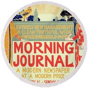 Reproduction Of A Poster Advertising The Morning Journal Round Beach Towel