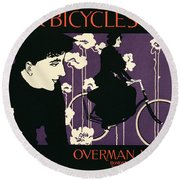 Reproduction Of A Poster Advertising Victor Bicycles Round Beach Towel