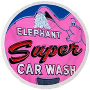 Elephant Super Car Wash Sign Seattle Washington Round Beach Towel