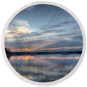 Reservoir Sunset Round Beach Towel