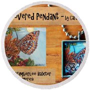 Resin Pendant With Butterfly And Sky Round Beach Towel