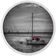 Rest Day B/w Round Beach Towel by Marvin Spates