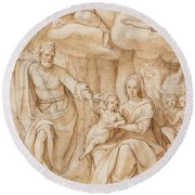 Rest On The Flight Into Egypt Round Beach Towel by Federico Zuccaro
