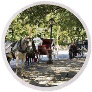 Rest Stop - Central Park Round Beach Towel