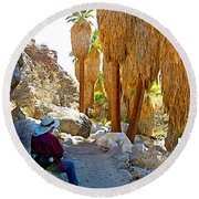 Rest Stop In Andreas Canyon Trail In Indian Canyons-ca Round Beach Towel