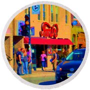Restaurant Amir Internet Cafe Fast Food Plateau Montreal City Street Scene Art Carole Spandau  Round Beach Towel