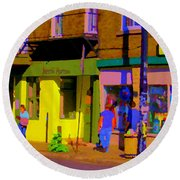 Restaurant El Pintxo Rue Roy Plateau Montreal Basque Food Spanish Cafe City Scene Art Carole Spandau Round Beach Towel