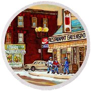 Restaurant Greenspot And Coin Vert Boutique Fleuriste Montreal Winter Street Hockey Scenes Round Beach Towel