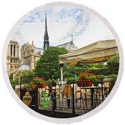 Restaurant On Seine Round Beach Towel by Elena Elisseeva