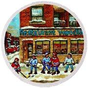 Restaurant Woodland Pizza Rue Wellington Verdun Original Hockey Art Montreal Paintings Commissions   Round Beach Towel