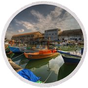 resting boats at the Jaffa port Round Beach Towel